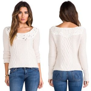 Free People Jewel and Lace Sweater